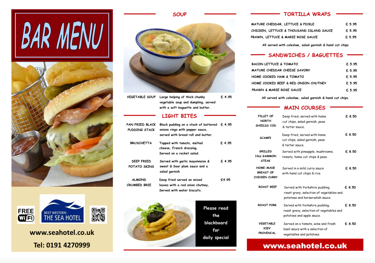 The Best Western Sea Hotel South Shields NE33 1LD Bar Menu 1