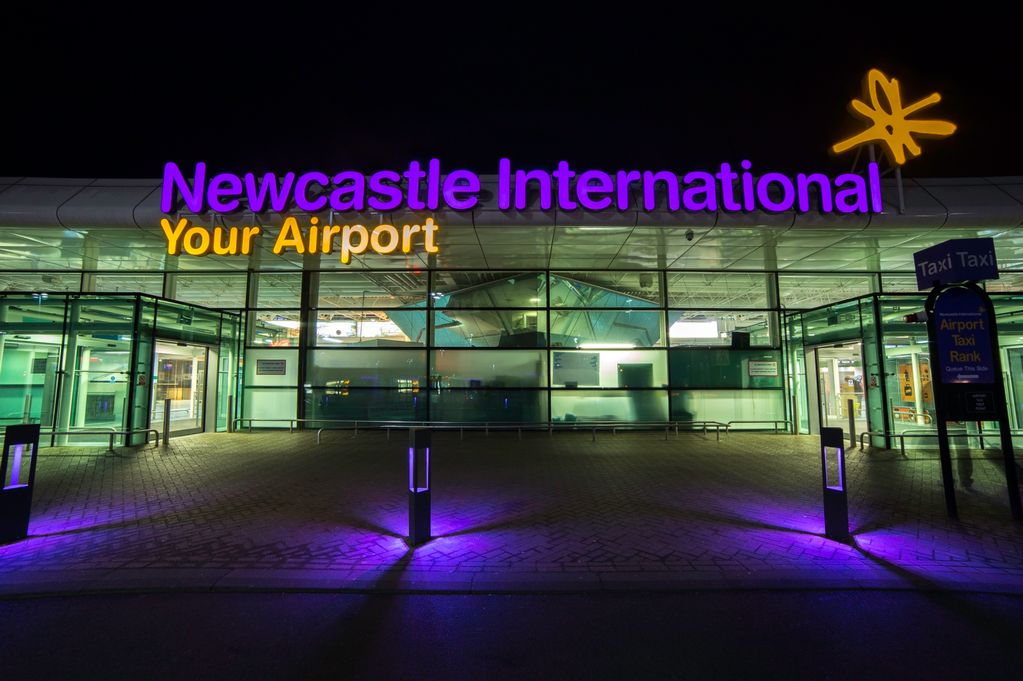 Newcastle Airport NE13 8BZ Exterior At Night