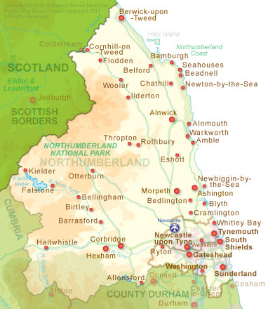 County Map of Northumberland in North East England