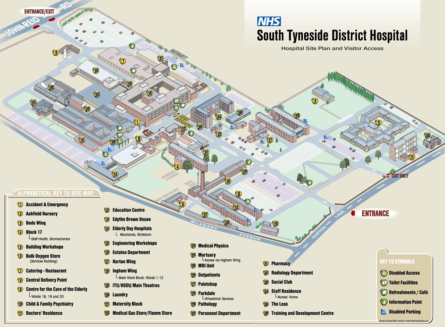 Map Showing Our BandB and NHS South Tyneside Sites